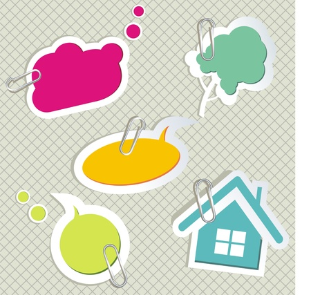 set of speech bubbles &amp, scrapbook elements  Vector