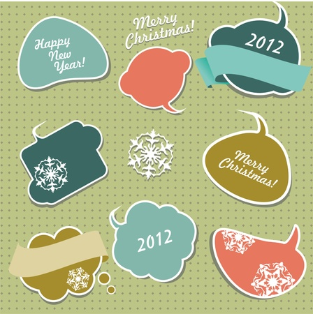 Retro Christmas stickers in form of speech bubbles.  Vector