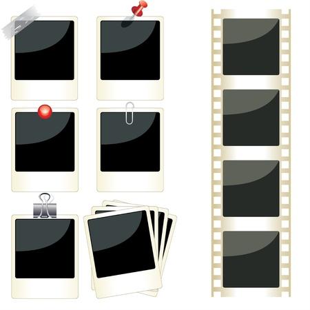 grunge photo frame: Vettoriali istantanei cornici impostato Vettoriali