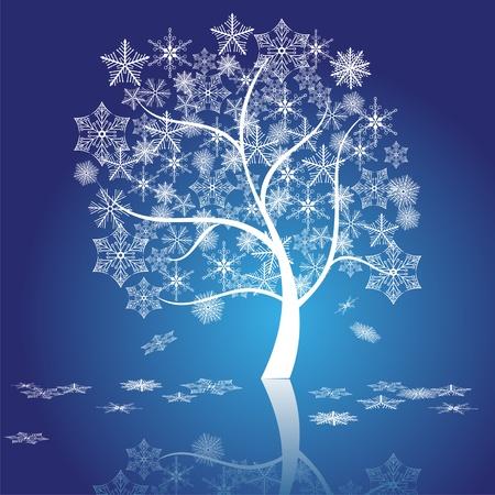 joyous: snow tree vector  Illustration