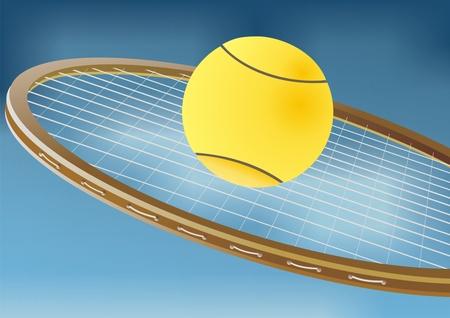 tennis serve: Tennis racket and balls Illustration