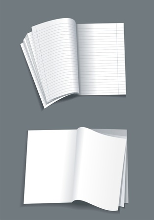 Opened notebook  isolated on white background  Vector