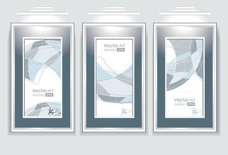 lit collection: empty frames with abstraction in a room against a white wal Illustration