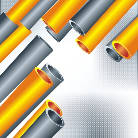 pipe line: Colorful abstract 3D shape on light background  Illustration