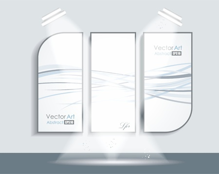 Gallery Interior with abstract picures on wall  Vector