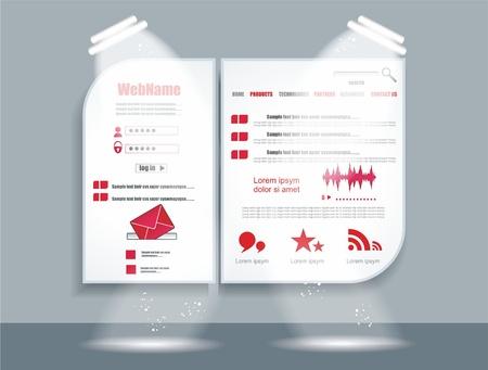 Website Web Design Elements Red Theme  Illustration