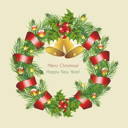 snow wreath: Vector christmas wreath