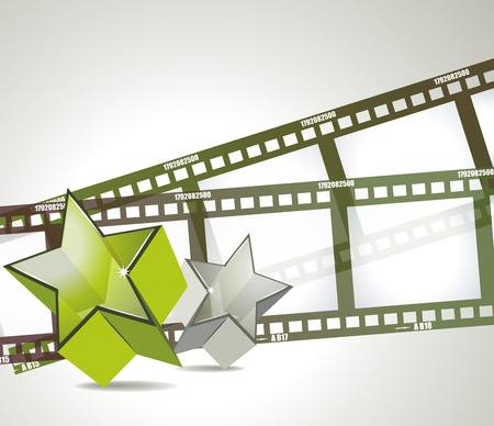 Old negative film strip with 3d glass stars Vector