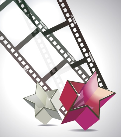 filmroll: Old negative film strip with 3d glass stars