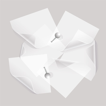 collection de divers documents de notes blanches ou transparentes autocollants wiht broches Vecteurs