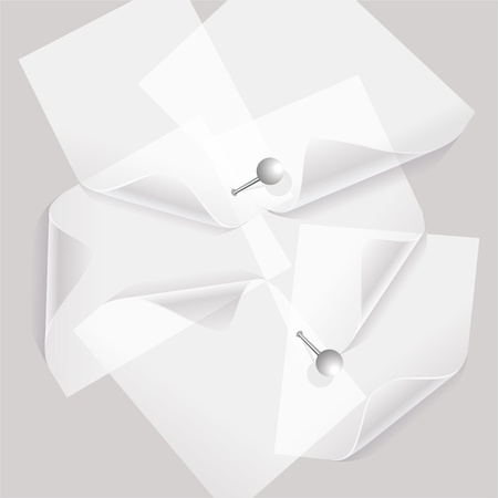 collection of various white note papers or transparent stickers with pins Vector