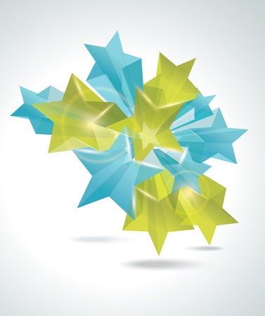 white star line: Abstract Colorful Background with 3d glass stars. Vector.