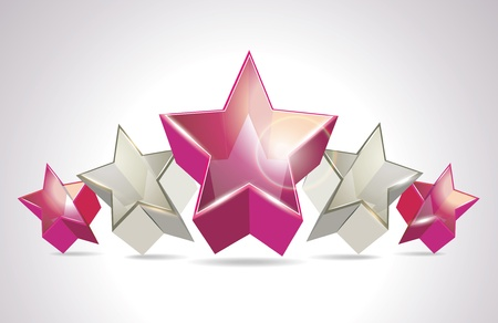 Abstract Colorful Background with 3d glass stars. Vector.  Vector