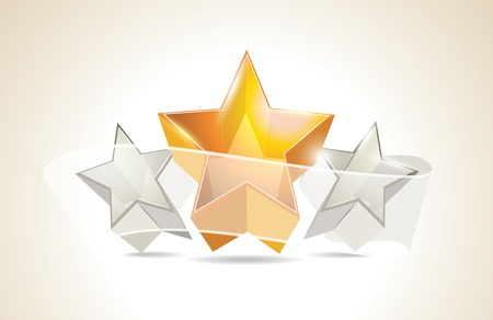 Abstract Colorful Background with 3d glass stars. Vector