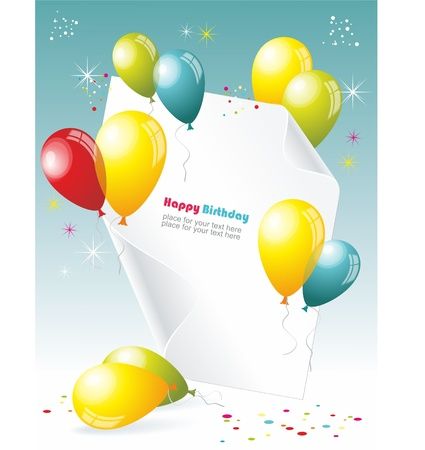 party streamers: Card to birthday, with balloons Illustration