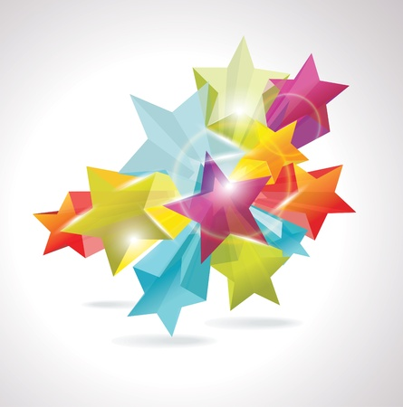 Abstract Colorful Background with 3d glass stars Stock Vector - 12063765