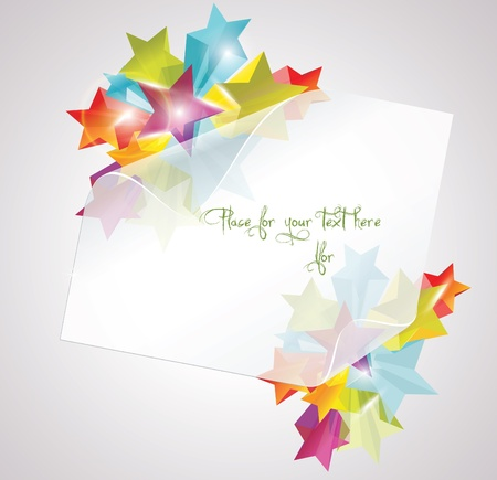 Abstract Colorful Background with white paper 3d glass stars.  Vector