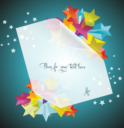 Abstract Colorful Background with white paper 3d glass stars. Vector. Stock Vector - 12250587