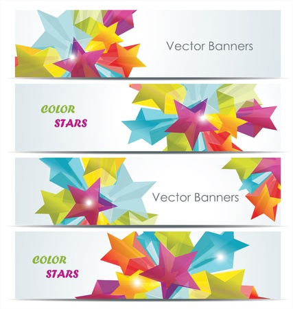 Abstract Colorful Background with white banners and 3d glass stars. Vector. Stock Vector - 12250591