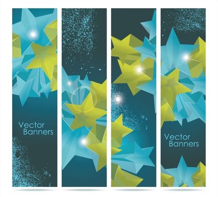 Abstract Colorful Background with paper banners and 3d glass stars. Vector.