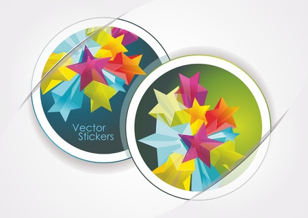 Abstract Colorful Background with stickers and 3d glass stars. Vector. Stock Vector - 12250590