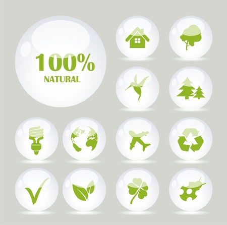 White glass balls with green symbols Vector