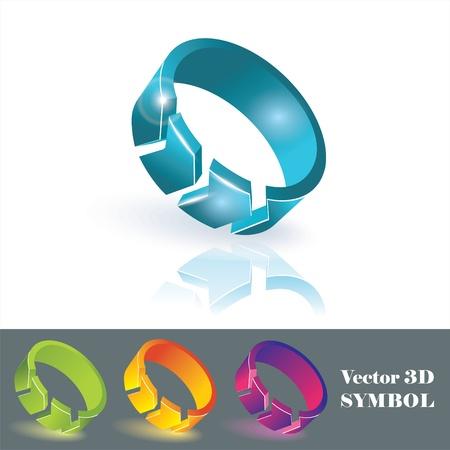 3 point perspective: 3d color symbols. Vector.