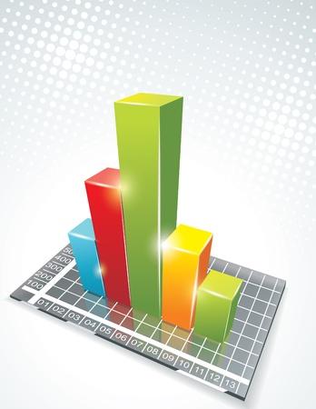 bargraph: illustration of bar graph on glass