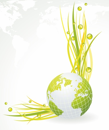 Green concept. Green globe with grass Vector