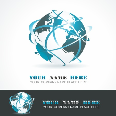 Sphere 3d design. Vector symbol. Globe blue anr white.