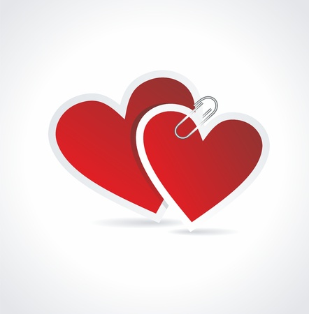 Doppel Red Heart Papier Sticker. Valentine Vektorgrafik