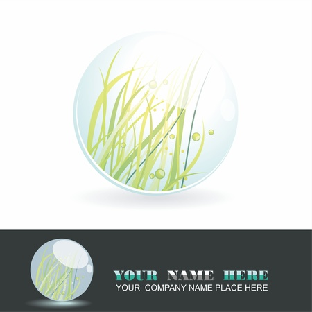 Sphere with grass inside, vector shiny ball. Eco symbol. Vector
