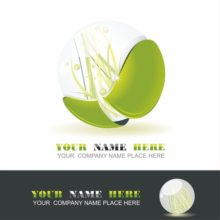 Sphere with grass inside, vector shiny ball. Eco symbol. Stock Vector - 12250625