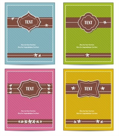 Old vintage book cover set or Template frame design for greeting card  Vector