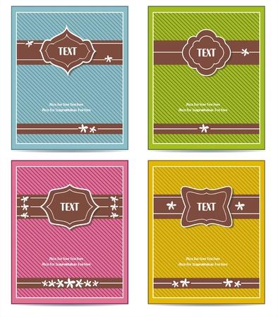 copertina libro antico: Old Vintage copertina set libro o una cornice di design Template per biglietto di auguri