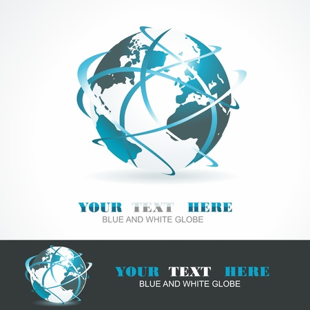 turn on: Sphere 3d design. Vector symbol. Globe blue anr white.