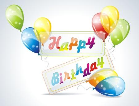 rejoicing: illustrazione della carta di compleanno con palloncini