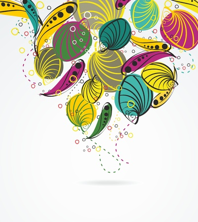 Stylish floral background, hand drawn retro flowers and leaf Vector