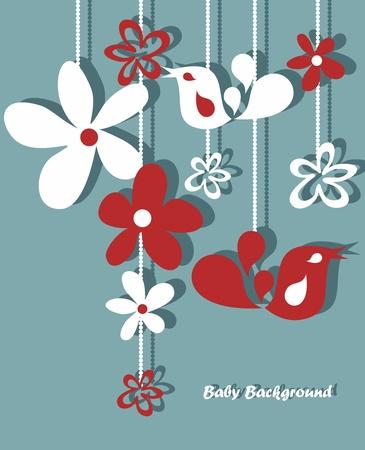Stylish floral background, wyciągnąć rękę retro kwiaty i ptaki Ilustracje wektorowe