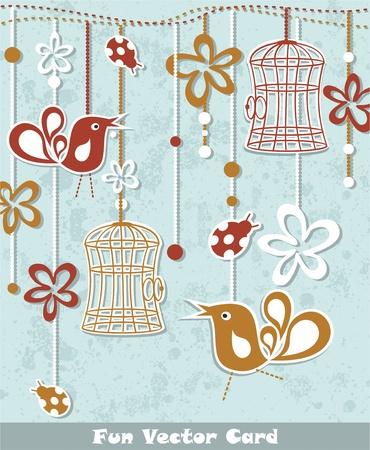 wedding invitation card with a bird cage