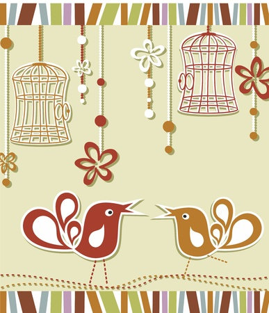 wedding invitation card with a bird cage and flowers Illustration
