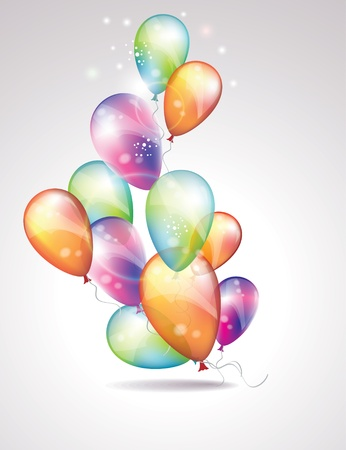 Card to birthday, with balloons Stock Vector - 12811375