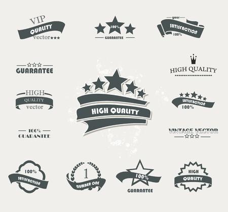 ruban noir: Jeu de R�tro insignes de qualit� sup�rieure et des �tiquettes