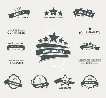 badge ribbon: Set of vintage retro premium quality badges and labels