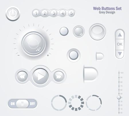 player controls: Controles de elementos web: botones, conmutadores, reproductor, Audio, Video Vectores