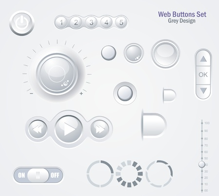 Controls Web Elements : Buttons, Switchers, Player, Audio, Video Vector