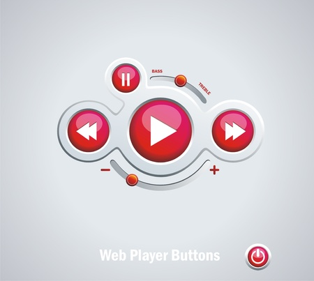 Light  Web Elements: Buttons, Switchers, Player, Audio Vector