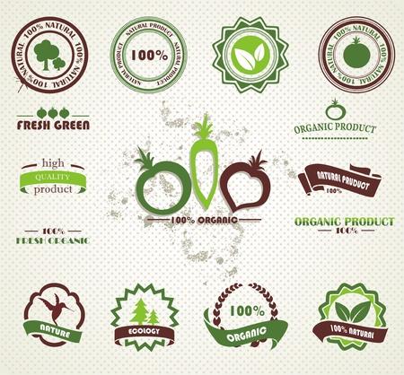 Juego de insignias de alimentos orgánicos y frescos de granja y las etiquetas