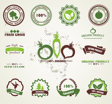 organic farming: Set of organic and farm fresh food badges and labels