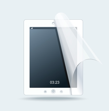 lcd display: White tablet pc on white background